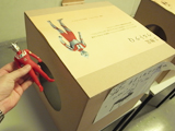 触感だけで表題の人形を箱から見つけよう。